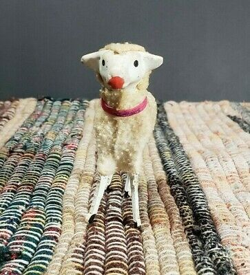 Pink Collar -Putz Sheep Germany Stick Leg Wooly Antique Composition Nativity