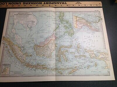 3620 Original Vintage Antique Map 1897 East India Islands The Century Co.