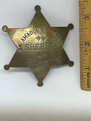 Amador County Sheriff Badge California Gold Country Reproduction