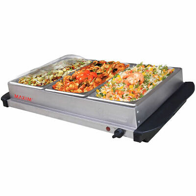 Maxim Electric Buffet Server Food Warmer Stainless Steel w/3x 2L Tray/Hotplate