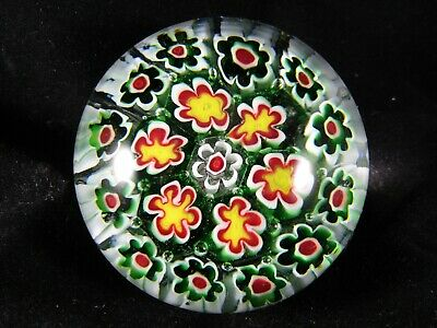 Vintage Art Glass- Dynasty Gallery Millefiori Green & Red Paperweight #529