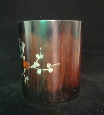 Rare Large Fine Old Chinese Rosewood Hand Carving Brush Pot Pen Container