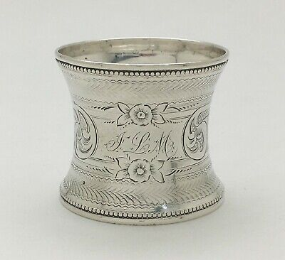 "A Magnificent Antique Bright Cut Engraved Sterling Silver Napkin Ring ""JLM"""
