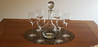Toscany Hand Blown Crystal Wine Decanter and (6) Lenox Long Stem Wine Glasses