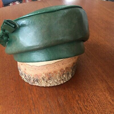 womens vintage hat green leather 60's from Myer Adelaide