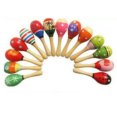 10pcs Musical Party Percussion Instrument Shakers Wooden Rattle Baby Toy Maracas