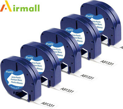 5X 91331 Compatible with Dymo LetraTag LT-100H 91201 Plastic Label Tape 1/2''