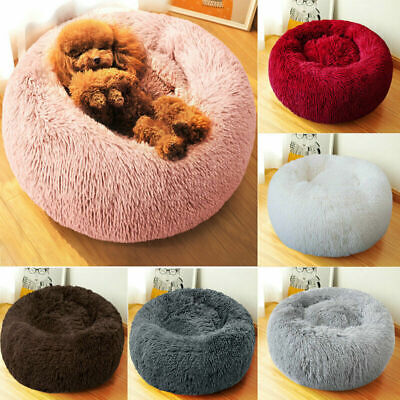 Pet Dog Cat Calming Bed Round Nest Warm Soft Plush Sleeping Bag Comfy Flufy bbv