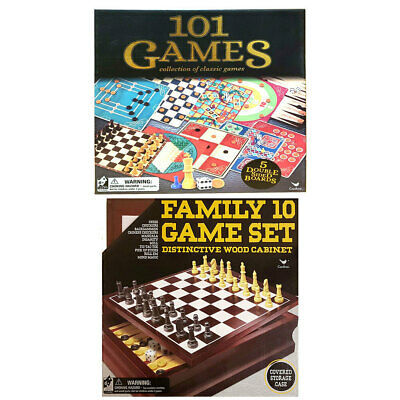 2pc Cardinal Classic Kids/Children Wooden 10 Game/101 Games Chess/Checkers Set