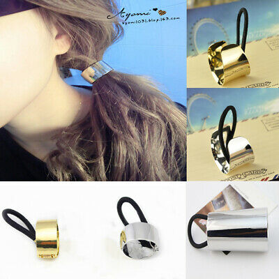 Hair Ponytail Ring Cover Metal Cuff Wrap Holder Elastic Style Band Pony DIY