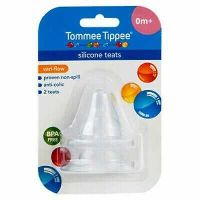 NEW Tommee Tippee Teat Wide Neck Variable Flow 2 Pack Baby Feeding Free Post