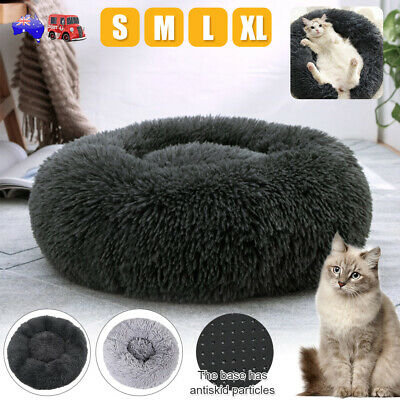 Pet Calming Bed Round Nest Faux Fur Donut Cat Dog Beds Self Warming Mat AU STOCK