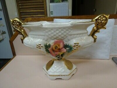 Antique Large Wide Vase.2 Handles.Highly decorated.Presume Made in Italy.