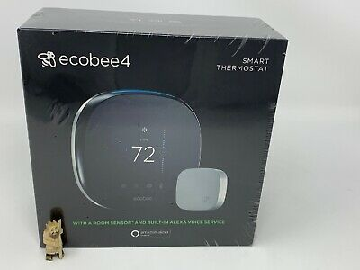 ecobee 4 Wi-Fi Thermostat w/ Room Sensor & Built-In Alexa Voice EB-STATE4-01 NIB