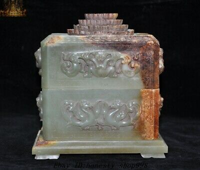 "6"" Old Dynasty Natural Hetian Cyan jade Carving Dragon Phoenix Seal box Boxes"