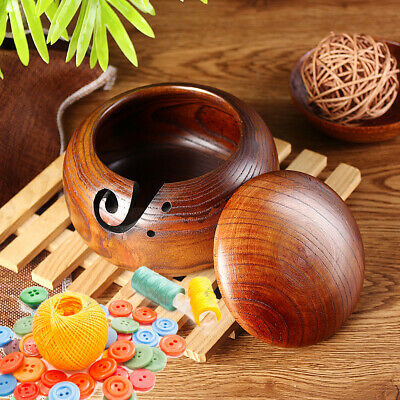 Wooden Yarn Bowl Holder Storage with Lid Cover for Knitting Yarn Ball 16 CM
