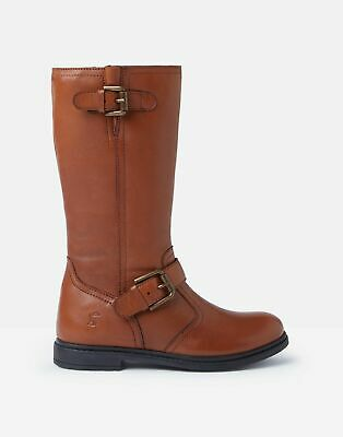 Joules Girls Darcy Long Leather Boots in TAN