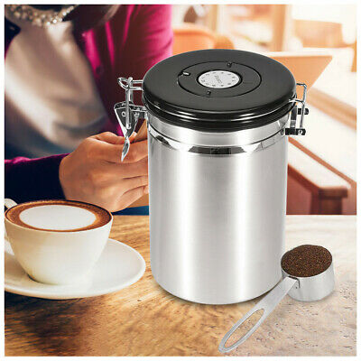 Coffee Canister Stainless Steel Storage Container With Scoop Food Bins 1.8L