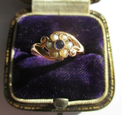 Bague fleur ancienne saphir perles - Or rose 18 carats - French gold ring 750