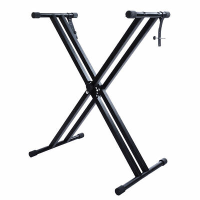 Heavy Duty Folding Adjustable Keyboard Stand Double X Frame Mount with Straps UK