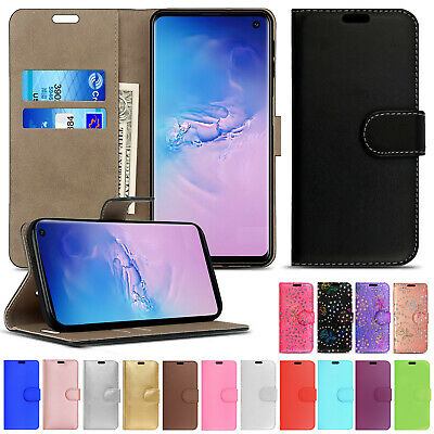 For Samsung S9 Plus S10 S8 Leather Wallet Flip Case Card Stand Shockproof Cover