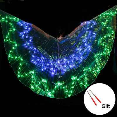 360° LED Isis Belly Dance Wings Accessories Prop Butterfly 36 Colors Changing