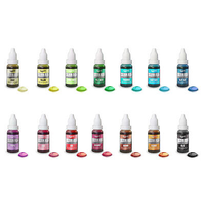 Full Set 14 Rainbow Dust Colour Flo Edible Liquid Food Air Brush Colouring 16ml