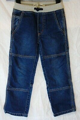 Boys Boden Blue Panelled Denim Ribbed Drawstring Waist Relaxed Jeans Age 5 Years