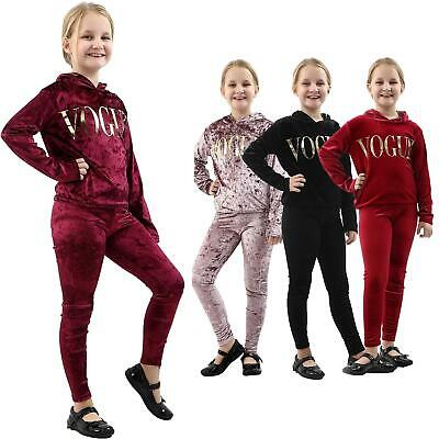 New Kids Girls Hooded Vogue Slogan Tracksuit Top & Bottom Set Velvet Lounge Wear