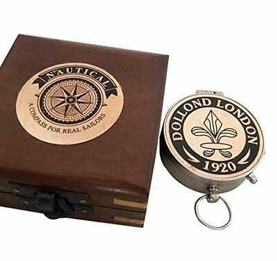 Antique Brass Wooden Box Compass Vintage Authentic Marine Nautical Collection