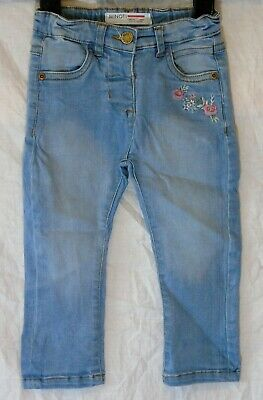 Baby Girls Minoti Light Blue Denim Embroidered Flower Jeans Age 12-18 Months