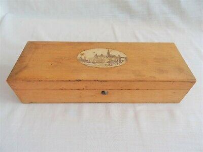 Antique Mauchline Ware Glove Box Southport Town Hall & Library - vintage treen
