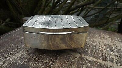 Vintage Chester 1926 Hallmarked Silver smal lidded footed box engraved Millicent
