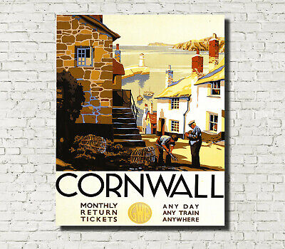 GWR Trains Vintage Advertising Poster Cornwall Travel Print A4