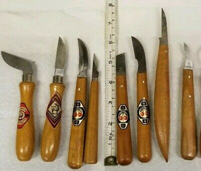 8 piece WOOD CARVING KNIFE SET GERMANY Hirsch, Two Cherries.