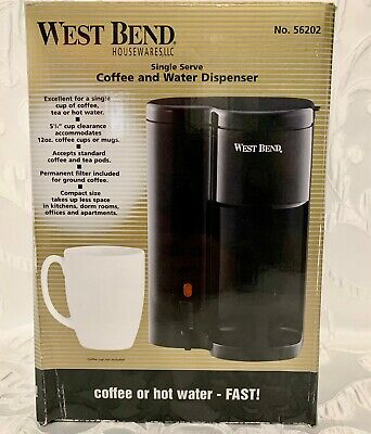 West Bend 56202 Single Serve Coffee and Hot Water Dispenser BLACK Heats Up Fast!