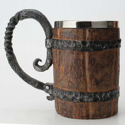 Wooden barrel Stainless Steel Resin 3D Beer Mug Goblet Game Tankard Coffee Cup