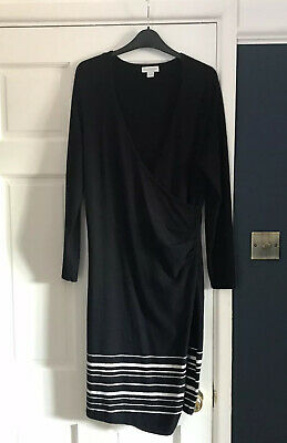 Monsoon Black Fine Knitted Wrap Style Dress With Stripe Detail Size 16
