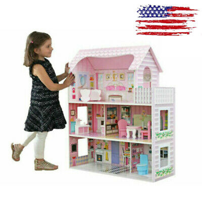 Pink Dollhouse Children Large Wooden Dream House Birthday Room Toy Fun Xmas Gift