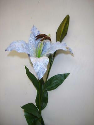 8 Stems Casablanca Lily 'Blue' Velvet Artificial Silk Flowers Clearance Lot