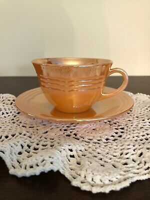 Anchor Hocking's  Fire King Peach Lustre 3 Band Coffee Cup & Saucer