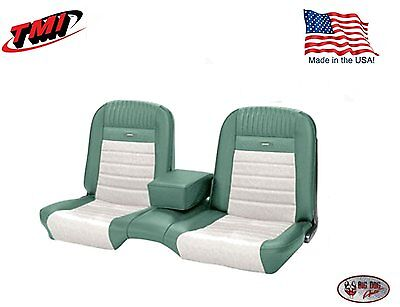 Deluxe PONY Seat Upholstery Mustang Convert Front/Rear Bench - Turquoise & White