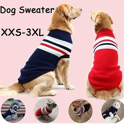XXS-3XL Large Dog Striped Sweater Small & Medium Pet Comfortable Puppy Clothes