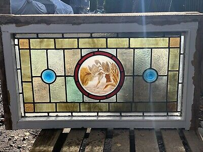 Victorian Antique Leaded Stained Glass Window Kingfisher Bird Roundel