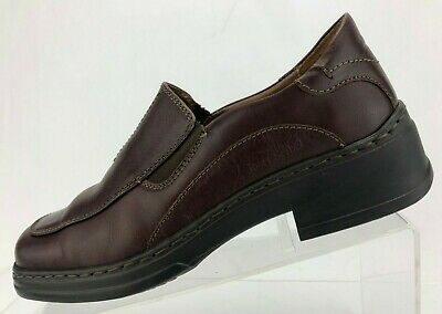 Josef Seibel Loafers Comfy Slip On Brown Leather Apron Toe Shoe Womens 39 8/8.5