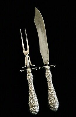 STIEFF ROSE Sterling Silver Handled Carving Set 1900-1920