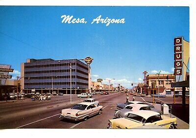 Street Scene-Valley National Bank-Cars-Stores-Mesa-Arizona-Vintage Postcard