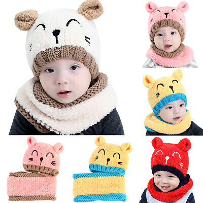 Toddler Baby Kids Boy Girl Beanie Winter Warm Earflap Knitted Hats Cat Caps Sets