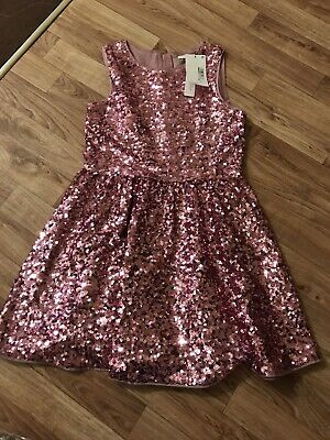 Girls M&S Pink Sequin Dress Bnwt Rrp £26.00 Age 11-12 Years