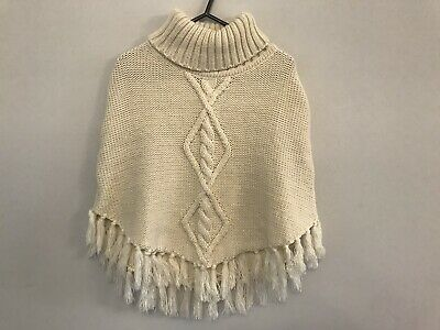 H&M Cream Poncho With Gold Glitter & Front Design, Age 8-12 Years